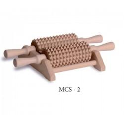 Drewniany masażer do ciała i stóp 2 rolki
